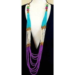 Bold colored 80's multistranded Vtg Necklace